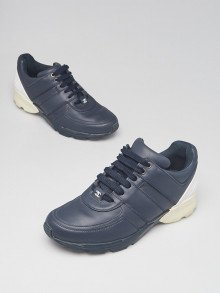 Chanel Navy Blue/White Leather REV Sneakers Size 8/38.5