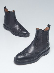 Hermes Black Leather Brighton Low Ankle Boots Size 5.5/36
