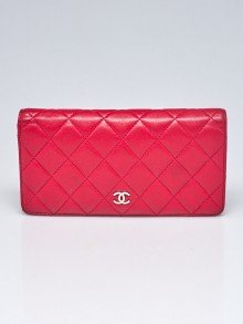 Chanel Dark Pink Quilted Lambskin Leather L Yen Wallet