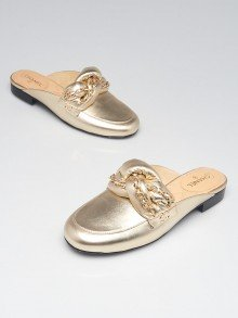 Chanel Light Gold Leather Braided Chain Mules Size 6.5/37