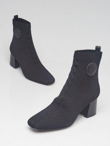 Hermes Black Knit Fabric Volver 60 Ankle Boots Size 8.5/39