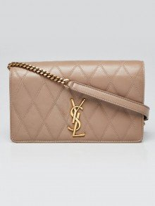 Yves Saint Laurent Beige Quilted Leather Angie Crossbody Bag
