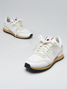 Valentino White Leather/Suede Heart Sneakers Size 7/37.5