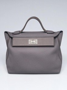 Hermes 35cm Etain Clemence Leather Palladium Plated 24/24 Bag