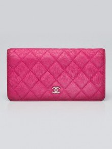 Chanel Pink Quilted Matte Caviar Leather L Yen Wallet