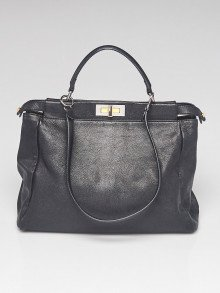 Fendi Black Leather Large Peekaboo Satchel Bag - 8BN210