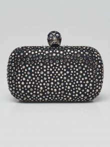 Alexander McQueen Black Satin and Crystal Skull Clutch Bag