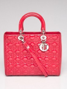 Christian Dior Dark Pink Cannage Quilted Patent Leather Large Lady Dior Bag