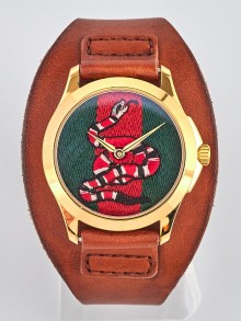 Gucci Brown Leather Snake Insignia Watch