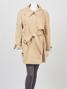 Burberry Beige Cotton Trench Coat Size 8/42