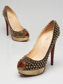 Christian Louboutin Hematite Lame/Bronze Ring Strass Lady Peep Spikes 150 Pumps Size 10.5/41