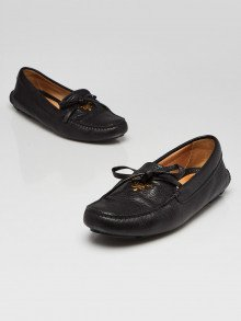 Prada Black Pebbled Leather Driving Loafers Size 5.5/36