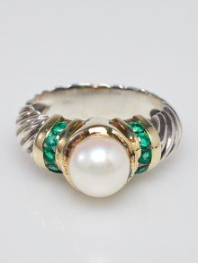 David Yurman Sterling Silver Cable Pearl and Emerald Ring Size 6.5