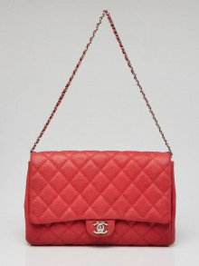 Chanel Red Quilted Matte Caviar Leather Chain Flap Clutch Bag