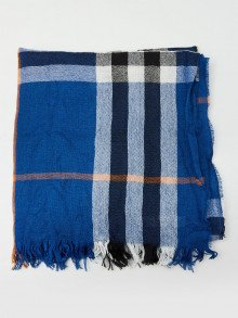 Burberry Bright Cobalt Wool and Cashmere Blend Giant Check Crinkle Scarf