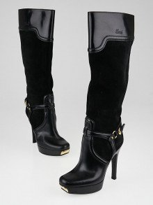 Gucci Black Leather and Suede Platform Knee-High Boots Size 5.5/36