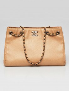 Chanel Beige Caviar Leather Large Shopping Tote Bag