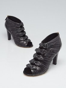 Chanel Black Leather/Patent Leather Open Toe Knotted Booties Size 9/39.5