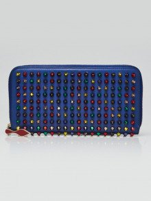 Christian Louboutin Blue Leather Panettone Multicolor Spikes Zip-Around Wallet