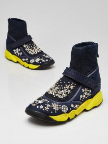 Christian Dior Blue Technical Fabric Embellished Fusion High Top Sneakers Size 4.5/35