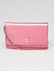 Chanel Pink Camellia Embossed Patent Leather WOC Clutch Bag