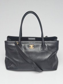 Chanel Black Pebbled Leather Cerf Shopping Tote Bag