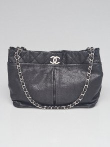 Chanel Black Calfskin Leather Natural Beauty Tote Bag