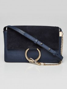 Chloe Blue Leather and Suede Small Faye Crossbody Bag