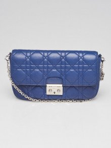 Christian Dior Blue Cannage Quilted Lambskin Leather Miss Dior Promenade Small Bag