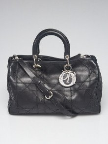 Christian Dior Black Cannage Quilted Lambskin Leather Medium Granville Polochon Bag