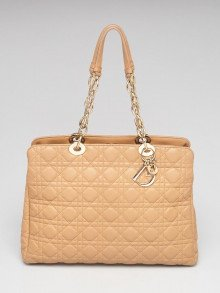 Christian Dior Beige Quilted Cannage Lambskin Leather Dior Soft Medium Zipped Shopping Tote Bag