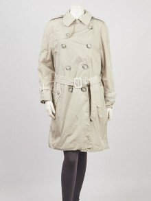 Moncler Beige Nylon Double Breasted Trench Coat Size 2/M