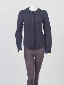 Isabel Marant Navy Blue Cotton Seraphin Long Sleeve Top Size 6/38