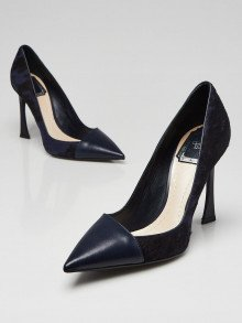 Christian Dior Blue Pony Hair and Leather Pointed-Toe Pumps Size 5.5/36