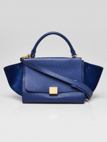 Celine Blue Pebbled Leather and Suede Small Trapeze Bag