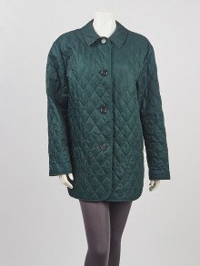 Burberry Green Diamond Quilted Polyester Jacket Size L