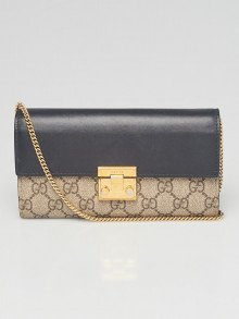 Gucci Beige/Ebony GG Coated Canvas Padlock Continental Wallet On Chain Bag