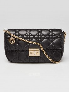 Christian Dior Black Cannage Quilted Lambskin Leather Miss Dior Promenade Small Bag