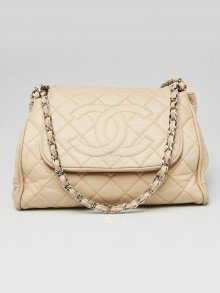 Chanel Beige Quilted Caviar Leather Timeless Accordion Flap Bag