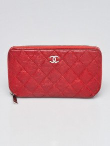 Chanel Red Quilted Calfskin Leather CC L Gusset Zip Wallet
