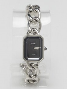Chanel Stainless Steel Chain and Black Dial Premiere Quartz Watch H3250