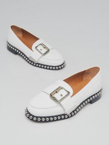 Chloe White Leather Studded Sawyer Almond Toe Loafers Size 7/37.5