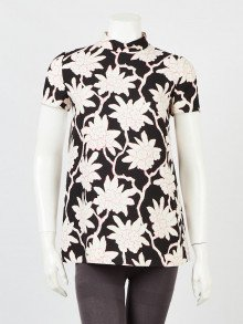 Valentino Black/White/Pink Floral Print Wool and Silk Short Sleeve Blouse Size 4/38