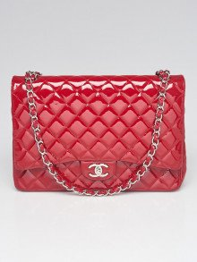 Chanel Red Quilted Patent Leather Classic Maxi Single Flap Bag