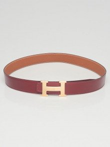 Hermes 32mm Rouge H Box/Gold Togo Leather Gold Plated Constance Belt Size 85
