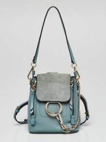 Chloe Light Blue Leather and Suede Mini Faye Backpack Bag