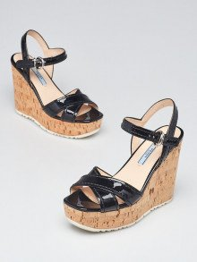 Prada Black Patent Leather and Cork Open Toe Wedges Size 5.5/36