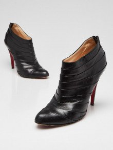 Christian Louboutin Black Leather Pleated Armadillo Ankle Booties Size 10/40.5