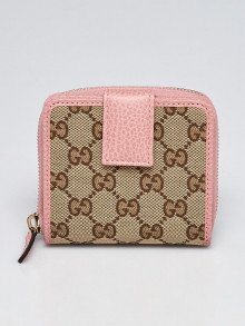 Gucci Beige/Pink GG Canvas French Flap Wallet