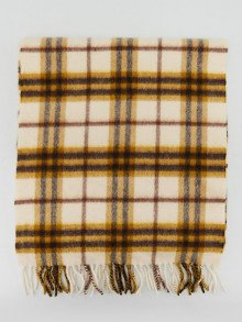Burberry White/Brown Cashmere Vintage Check Fringe Scarf